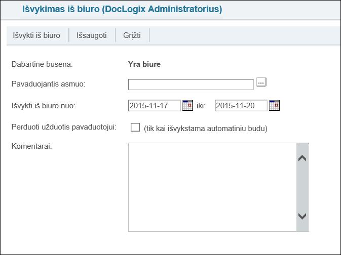 Išėjimas iš ofiso DocLogix sistemoje