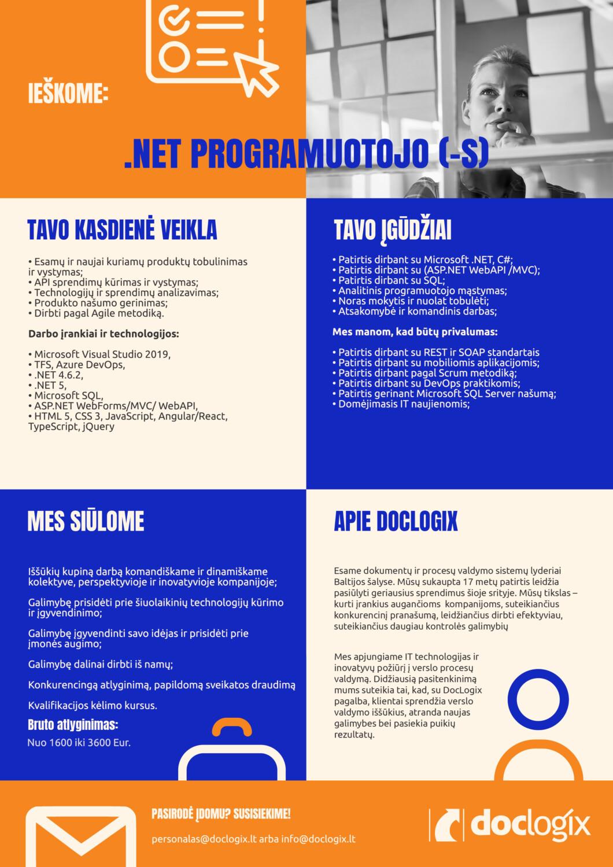 .NET programuotojas DocLogix karjera